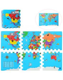 Детский коврик-пазл Карта мира (M 2612)