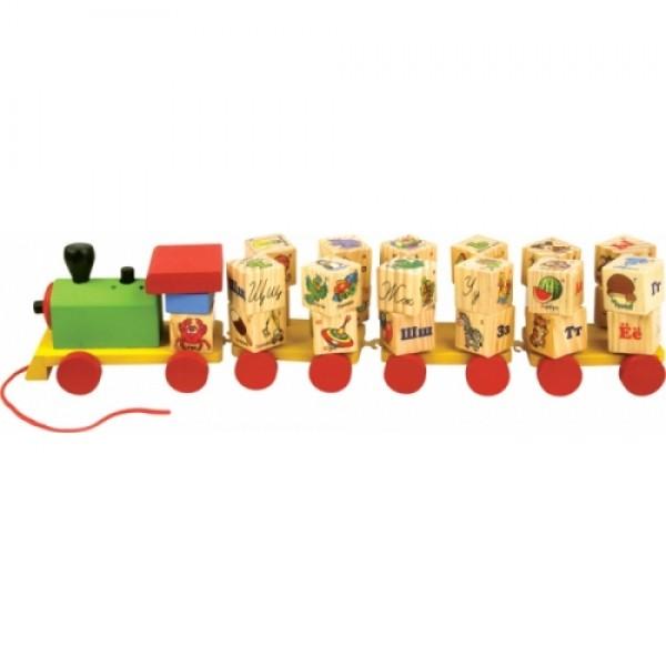 игрушка каталка паровозик Алфавит, мир деревянных игрушек
