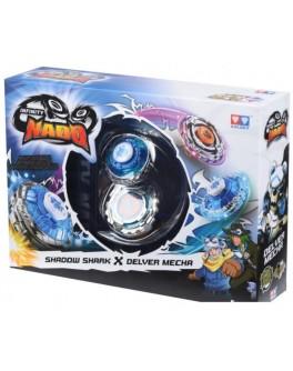 Волчок Infinity Nado Серия Сплит Shadow Shark и Delver Mecha с устройством запуска YW624602, Auldey