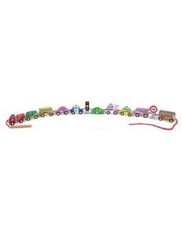Деревянная шнуровка бусы Viga Toys Автотранспорт (59851VG) - afk 59851