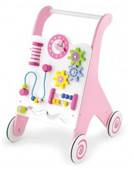 Деревянные ходунки-каталка Viga Toys розовые (50178)