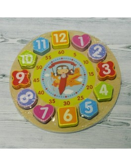 Дерев'яна навчальна іграшка Woody Годинник сортер-вкладиш (С 39314)