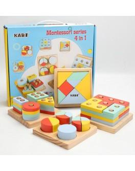 Дерев'яна іграшка Монтессорі Kabi Геометрика сортер 4в1 (MD 2530)