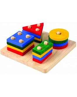 Деревянная игрушка Сортер-доска с геометрическими фигурами Plan Toys (2403) - plant 2403