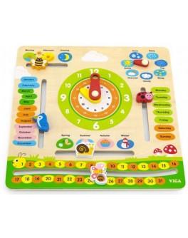 Дерев'яний календар Viga Toys з годинником, на англійській мові (44538)