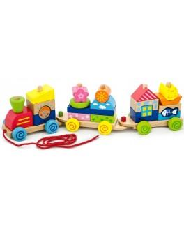 Дерев'яна іграшка-каталка Viga Toys Паровозик (50089) - afk 50089