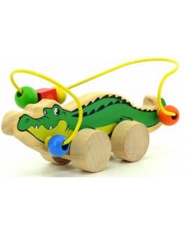 Деревянный лабиринт-каталка Крокодил, Мди - der 362