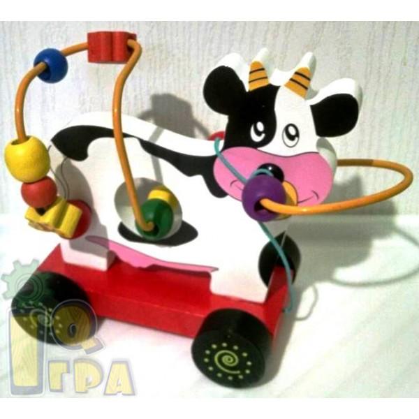 лабиринт из дерева каталка корова Мир деревянных игрушек Д254