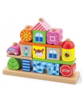 Деревянный конструктор кубики Viga Toys Город (50043)