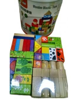 Деревянные кубики конструктор  Viga Toys Ферма 50 шт. (50285)