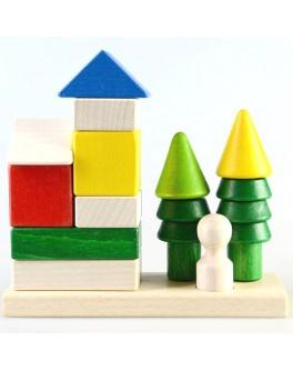 Дерев'яні кубики пірамідка Будиночок в лісі, ТАТО - tato КС-004