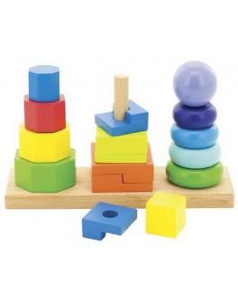 Деревянная игрушка пирамидки 3в1, Мди - Der 037