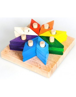 Деревянная пирамидка-мозаика Цветик-семицветик, ТАТО