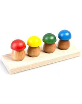 Дерев'яна пірамідка-вставка Чотири грибочки, ТАТО - tato ВК-002
