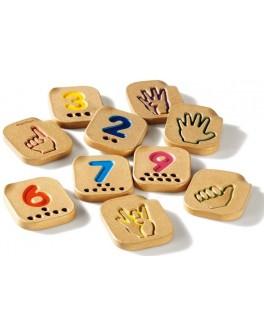 Деревянные Числа 1-10 с символами язык жестов Plan Toys (5655)