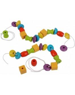 Деревянная шнуровка Собери бусы Plan Toys (5353) - plant 5353