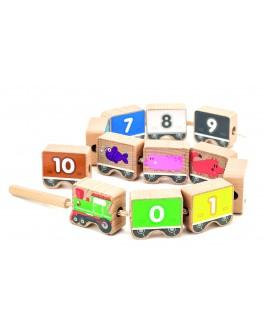 Іграшки з дерева Буси шнурівка Паровозик, МДІ - der 401