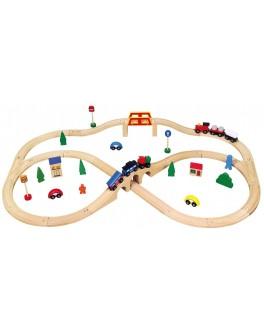 Деревянная игрушка Viga Toys Железная дорога 49 деталей (56304)