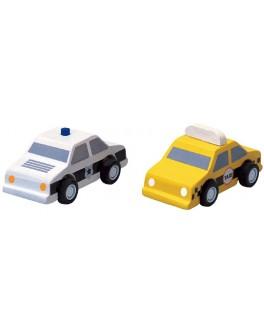 Деревянный набор машинок Такси и Полиция Plan Toys (6073) - plant 6073