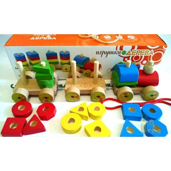 игрушка каталка паровозик малый, Мир деревянных игрушек