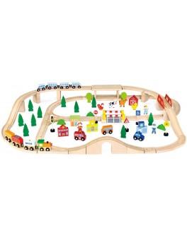 Деревянная игрушка Viga Toys Железная дорога 90 деталей (50998) - afk 50998