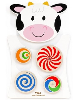 Деревянная игрушка настенная Viga Toys Корова с кругами (50677)
