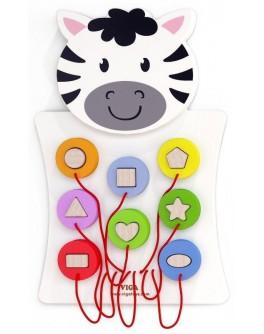 Деревянная игрушка настенная Viga Toys Зебра с фигурками (50681)