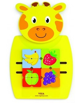 Деревянная игрушка настенная Viga Toys Жираф с фруктами (50680)