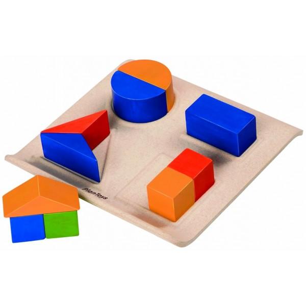 игрушка вкладыш монтессори геометрические формы plantoys 5648