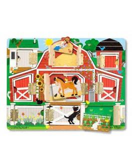 Деревянная игрушка рамка-вкладыш Доска с окошками Ферма, Melissa&Doug  - MD 14592