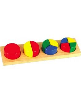 Деревянная игрушка рамка-вкладыш Дроби круг, Мди - Der 144