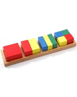 Деревянная игрушка рамка-вкладыш Дроби квадрат, Мди - Der 145