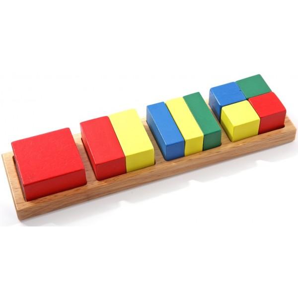 рамка вкладыш дроби квадрат Мир деревянных игрушек