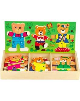 Дерев'яна рамка-вкладиш Гардероб для одягу Три ведмеді, МДІ - Der 164