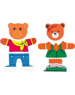 Дерев'яна рамка-вкладиш Гардероб для одягу Два ведмеді, МДІ - Der 182