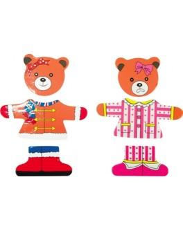 Деревянная рамка-вкладыш Гардероб для одежды медвежонок Катя, Мди