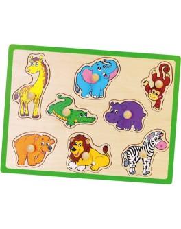 Деревянная рамка-вкладыш Монтессори Viga Toys Дикие животные (50019)