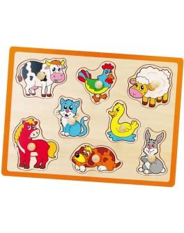 Деревянная рамка-вкладыш Монтессори Viga Toys Ферма (50017)