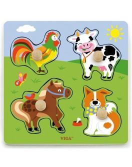 Рамка-вкладиш Монтессорі з дерева Viga Toys Ферма (50839) - afk 50839