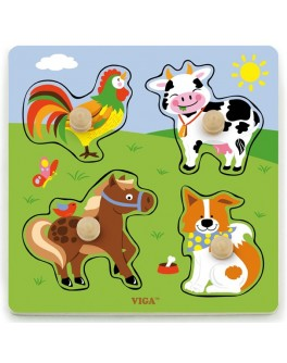 Рамка-вкладыш Монтессори из дерева Viga Toys Ферма (50839)