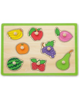 Деревянная рамка-вкладыш Монтессори Viga Toys Фрукты (50020)