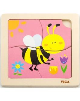 Деревянная игрушка пазл Viga Toys Пчелка (50138)