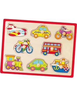 Деревянная рамка-вкладыш Монтессори Viga Toys Транспорт (50016)