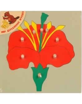 Деревянная игрушка рамка-вкладыш Цветок, Мди - Der p85