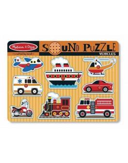 Деревянная игрушка рамка-вкладыш Звуковой пазл Машинки Mellissa&Doug  - MD 725