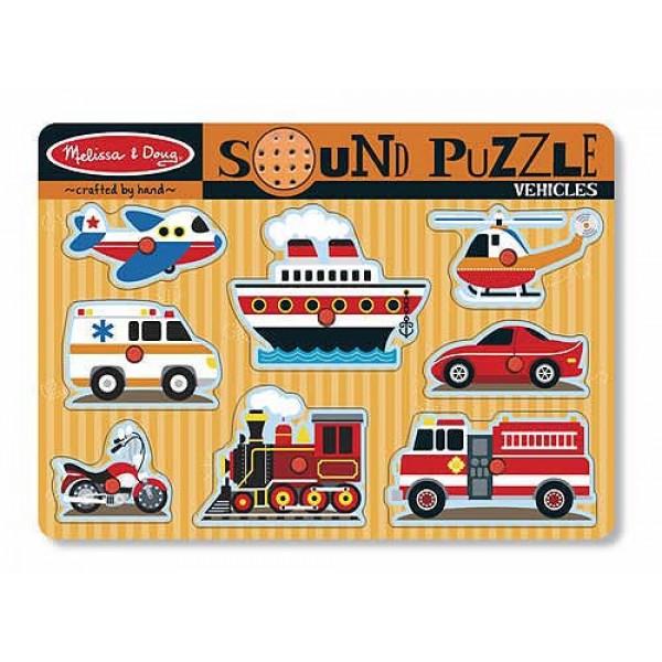 фото Деревянная игрушка рамка-вкладыш Звуковой пазл Машинки, Mellissa&Doug  - MD 725
