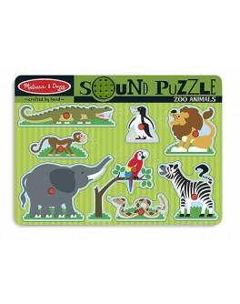 Деревянная игрушка рамка-вкладыш Звуковой пазл Зоопарк Melissa&Doug - MD 727