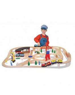 Деревянная игрушка Железная дорога 130 деталей, Melissa&Doug