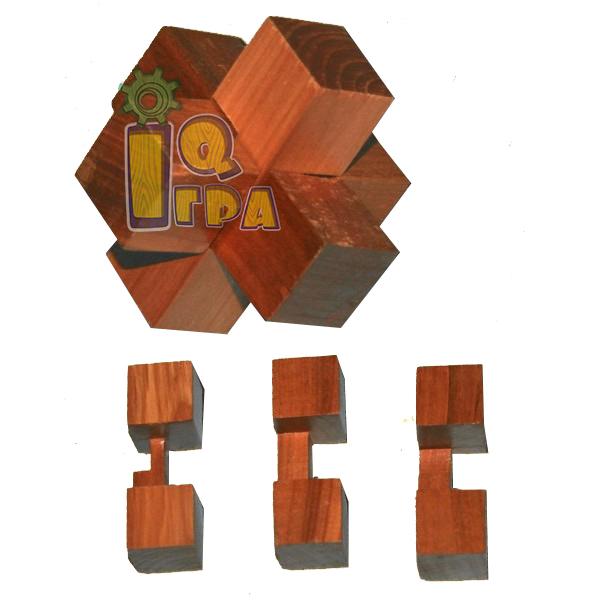 головоломка деревянная Крест 1+1+1 круть верть