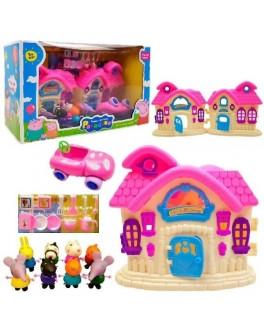 Ігровий набір Yangguang Toys Factory Будиночок Свинки Пеппи з фігурками, рожевий (YM 8015-6)